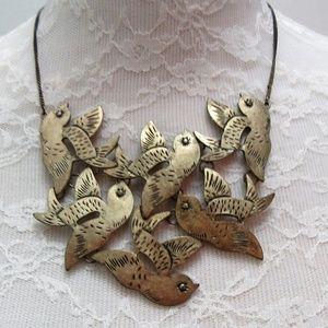 Brass engraved birds statement necklace